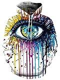 Unisex 3d Digital Rainbow Eye Hipster Drawstring Pullover Hoodie Sweatshirt for Teen Boys Girls