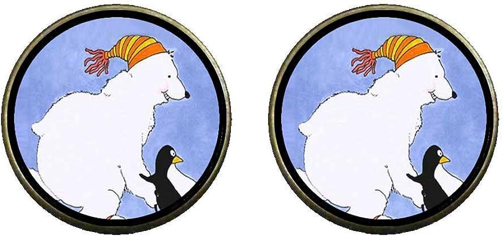 GiftJewelryShop Bronze Retro Style Polar Bear And Penguin Photo Clip On Earrings 14mm Diameter