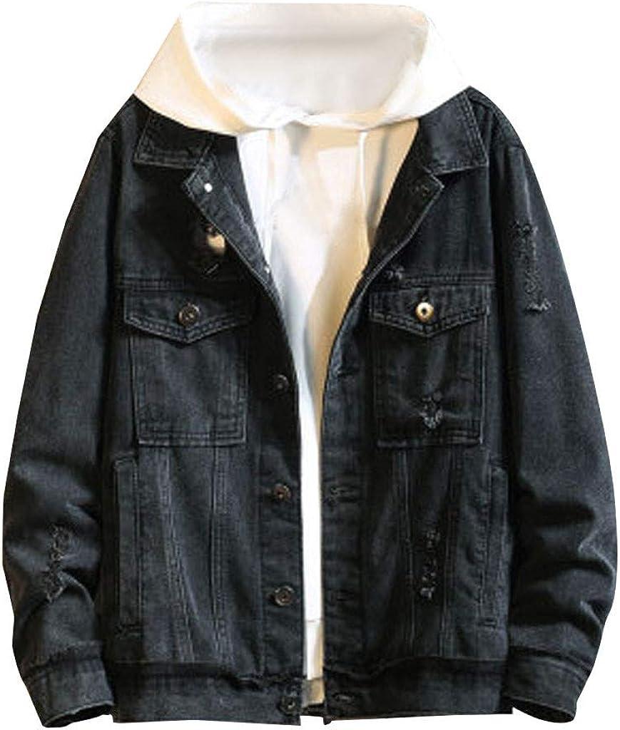Men's Denim Coat Long Sleeve Loose Fit Jeans Vintage Zipper Jacket for Autumn Winter