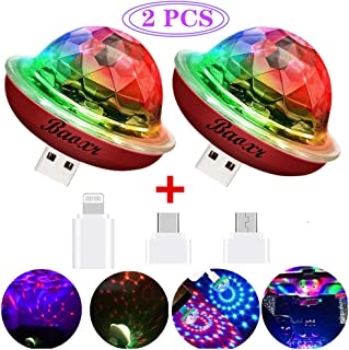 Mini USB Disco Ball Light, New Generation USB Mini Party Light, Mini Portable Strobe Light, Car Decoration Light, Suitable for Christmas/Children Birthday Party/Family/Wedding/Etc. (2 pcs)