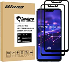 [2-Pack] Tonvizern Compatible for Huawei (Mate 20 Lite) Tempered Glass Screen Protector [Full Glue Coverage], 0.26mm 9H Hardness Screen Protector [Black]
