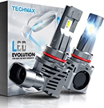 TECHMAX 9005 LED Headlight Bulbs,Small Design 60W 10000Lm 6500K Xenon White ZES Chips Extremely Bright HB3 Conversion Kit of 2