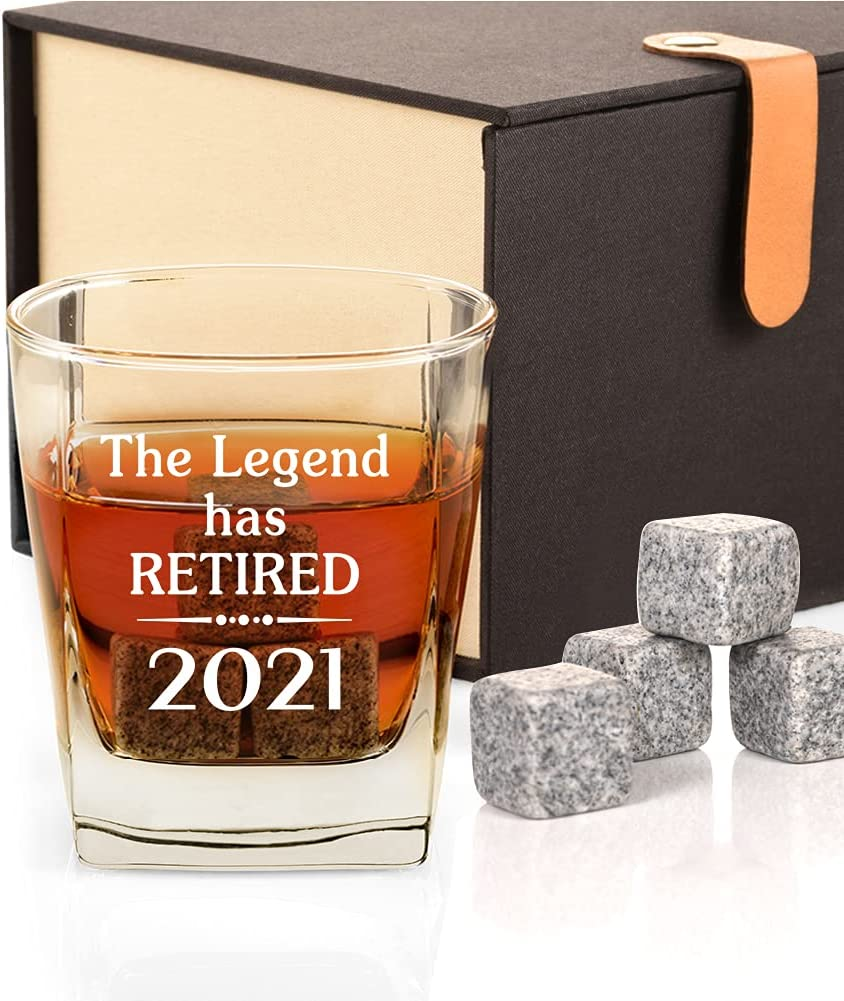 2021 Retirement Gifts for Men, Funny Retired 2021 Not My Problem Any More Whiskey Glass Gift, Happy Retirement Gifts for Office Coworkers, Boss, Dad, Husband, Brother, Friends