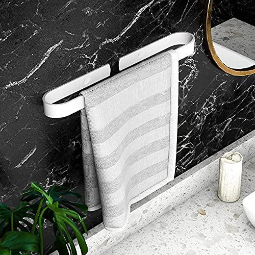 Homease Toallero de baño, sin taladrar, con regla de toalla, autoadhesivo, de aluminio, para cocina, cuarto de baño, balcón, inoxidable, 40 cm, color blanco