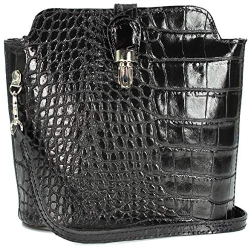 Belli ital. Ledertasche Damen Umhängetasche Handtasche Schultertasche schwarz lack - 18x20x8 cm (B x H x T)