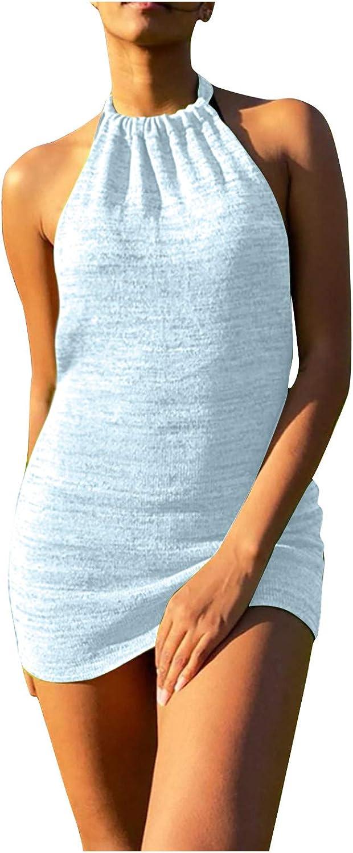 Women's Mini Dress Summer Fashion Halter Strap Dress Casual Suspender Lace Up Open Back Slim Sexy Top Dress