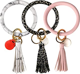 3pcs Wristlet Keychain Bracelet Keyring Bangle Tassel Round Keychain for Women Girls - No More Missing Keys