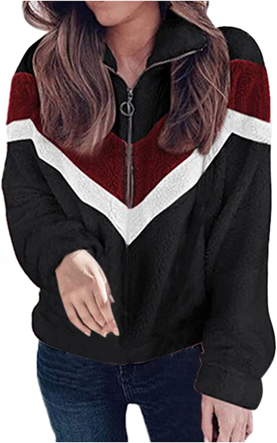 BEUU Womens Stand Collar Faux Fur Coats Casual Loose Pullover Fl