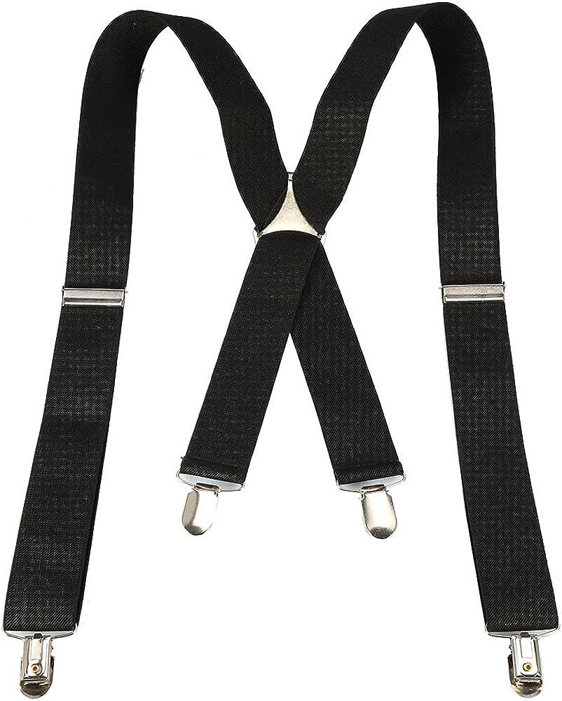 NCONCO Elastic Suspender 3.5cm Width Men X-Shape Braces Adjustable 4 Clips Belts Clip-on Braces