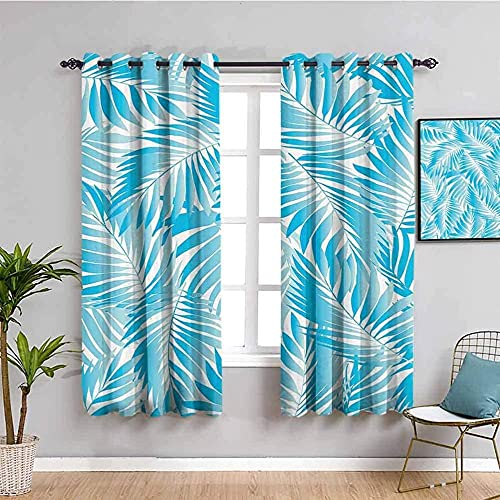 JYDFC Girls Blackout Curtains for Bedroom - 3D Digital Printing Children's Room Boy Girl Bedroom Room Decoration - Super Soft Thick Polyester - 110X96 Inch - Blue Fashion Plants Leaves