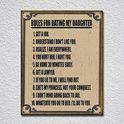 IUBBKI Letrero de metal con texto en inglés 'Reglas de aluminio para Dating My Daughter' (11,8 x 7,8 pulgadas)