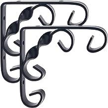 Decoratieve wandplankbeugels 2-pack zwart metalen wandgemonteerde zwevende plankbeugelsteun L-vorm Heavy-duty ijzeren hoek...