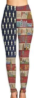 Cyloten Us Flag On A Wall Vintage Pattern Yoga Pants Women's Stretch Leggings Breathable High Waist Trousers Sportswear