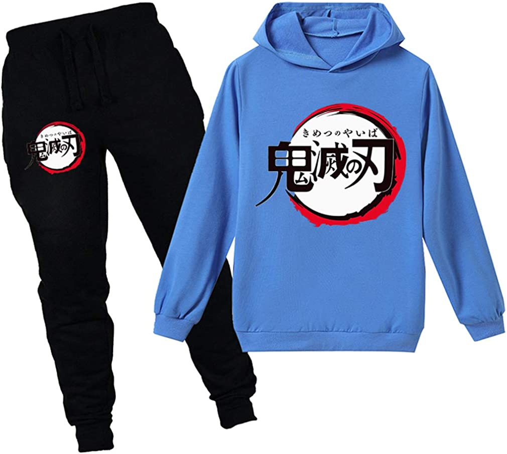 PANOZON M/ädchen Demon Slayer Bekleidungsset Tanjiro Nezuko Hoodie Hose Kimetsu no Yaiba Outwear