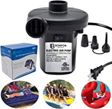 Portable Air Pump Inflator Deflator in 110V Voniry Electric Air Pump Quick-Fill Inflator for Inflatables Camp Bed Mattress Rafts Pool Float Black