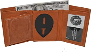 Mens Leather Wallet Sheriff Officer Police Shield Fire Security Id Holder New !