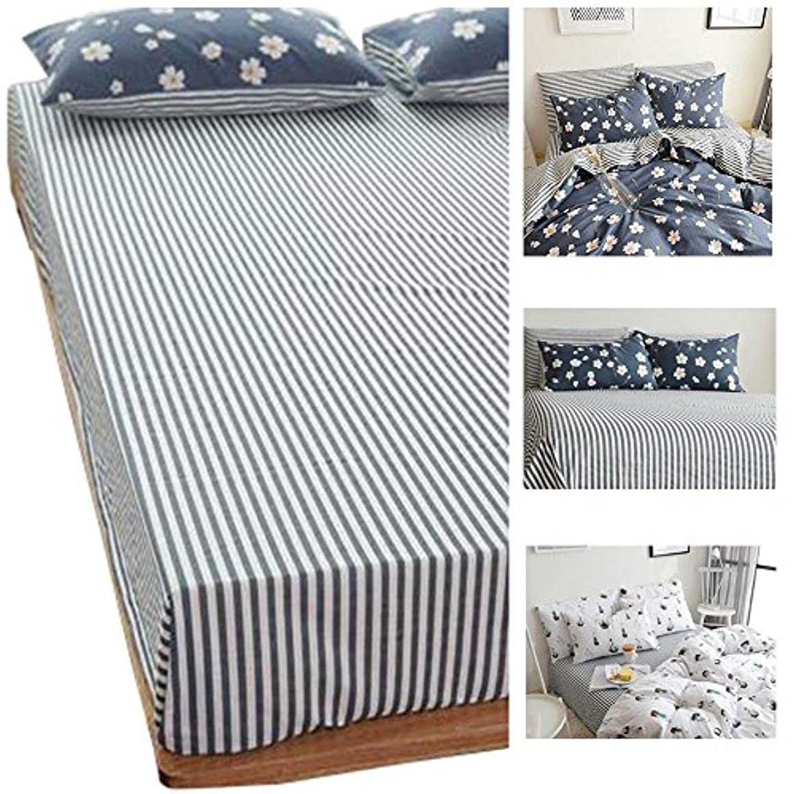 HIGHBUY Striped Fitted Sheet Twin 100% Cotton Kids Bed Deep Pocket (1pc,Twin) Elastic All Around -Wrinkle Fade Stain Resistant Premium Cotton Sheet(39
