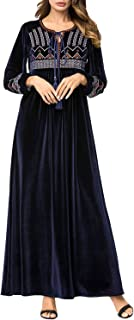 Women's Dress Long Sleeve Geometric Embroidery Lace-Up Velvet Maxi Dress (Color : Navy, Size : L)
