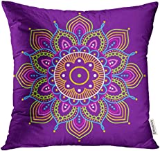Emvency Decorative Throw Pillow Case Cushion Cover Blue Indian Simple Colorful Abstract Mandala on Purple Ethno Motive 10 Orange 16x16 Inch Cases Square Pillowcases Covers for Sofa Two Sides Print
