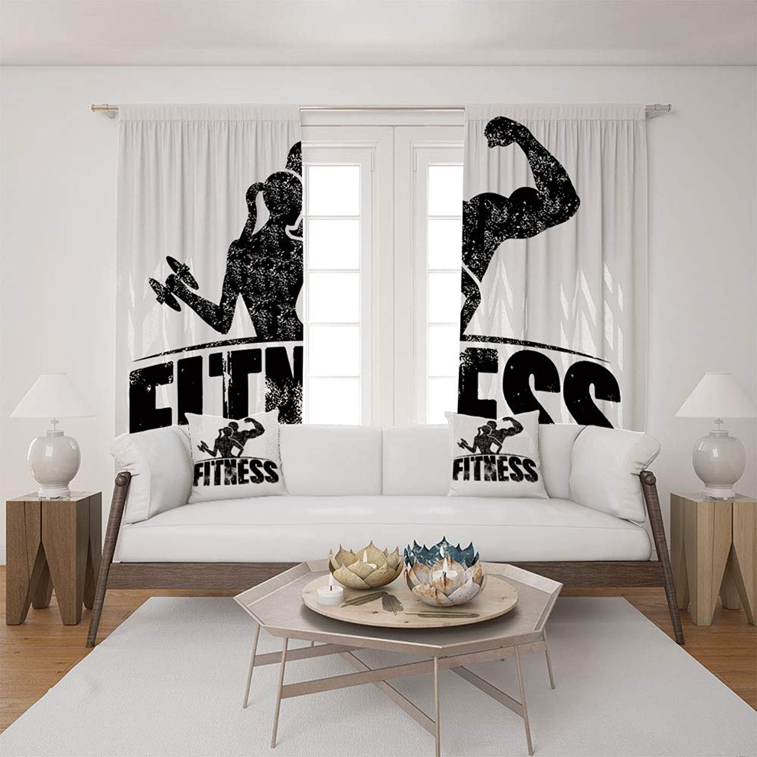 2 Panel Set Satin Window Drapes Living Room Curtains and 2 Pillowcases,Silhouettes Working Out Muscles Strong Training,The Perfect Combination of Curtains and Pillows Makes Your Living Room Warmer