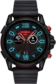 Diesel Men's Stainless Steel Touchscreen Watch with Silicone Band Strap, Black, 24 (Model: DZT2010