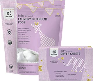 Grab Green Stage Months Natural Baby Laundry Detergent Pods and Dryer Sheets Kit, Rosewood, 50 Laundry Pods + 80 Dryer Sheets