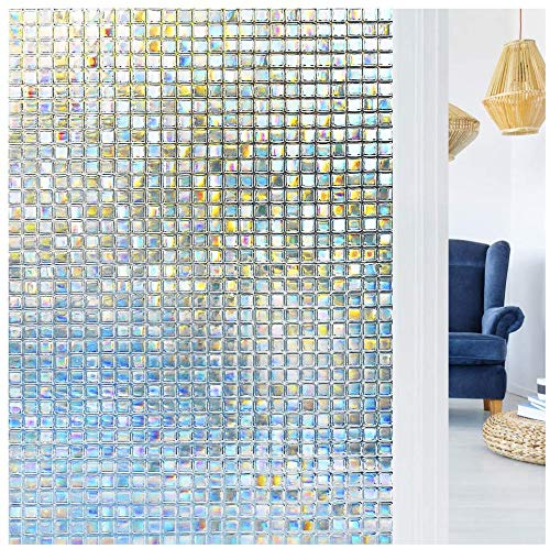 N / A LUCKYYJ 3D Removable Rainbow Window Film, Mosaic Patterns electrostatic self-adhesive frosted glass window film For home office A86 40x100cm