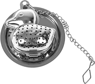 WSERE 2 Pieces Extra Fine Mesh Stainless Steel Animal Duck Shaped Tea Strainer Steeper Infuser with Chain and Drip Tray