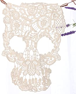 Applique lace Cotton Clothing Skull Pattern Floral Embroidery Decoration Suitable for Skirt Pants Jeans