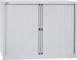 Bisley Armoire à rideaux Euro, largeur 1200 mm, 2 tablettes, gris clair - Armoire Armoire métallique Armoire à rideaux Arm...