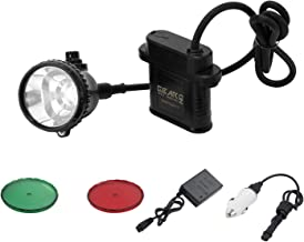Powerful Minining Headlamp with 4 LED White Light Modes-Equipped Rechargeable Battery/Free Red&Green Len Filters for Coyote/Predator/Coon Hunting/IP 68 Waterproof&Explosionr-Proof Headlamp