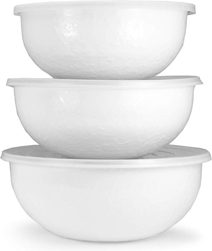 Golden Rabbit Enamelware White On White Texture Pattern Set Of 3 Mixing Bowls With Lids
