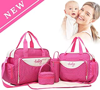 Tawcal Diaper Changing Bag Set, Baby Nappy Changing Bags Mummy Bags Tote Shoulder Bag for Mom and Dad Travel Large Capacity Multifunctional