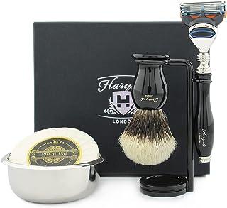 Haryali London Męski zestaw do golenia – 5-częściowy zestaw do golenia zawiera maszynkę do golenia dla mężczyzn, srebrna s...
