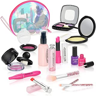 EAHUMM Pretend Makeup for Girls Kids Makeup Kit 13 pcs Pretend Play Makeup Toys for 3 4 5 6 7 8 Years Old Kids Girls Toys with Cosmetic Bag Birthday Gifts Princess Toys(Not Real Makeup)