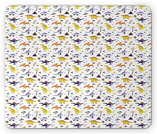Jurassic Mouse Pad, Kinder Design von Dinosauriern und Botanik-Artikeln auf einer einfachen Kulisse, Rechteck rutschfestes Gummi-Mauspad, Standardgröße, Weiß Lila Senf Weiß