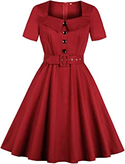 Women's Square Neck Lapel Shirt Collared Belted 1940s Vintage Dress
