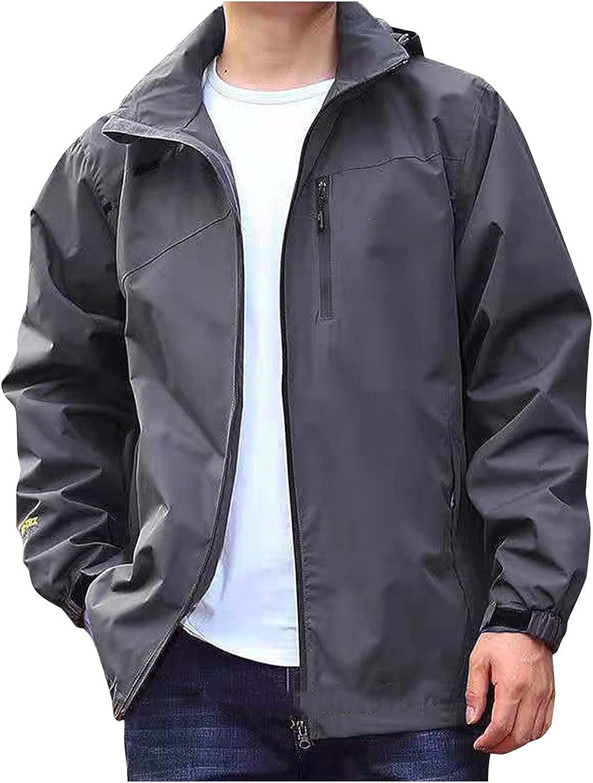 FORUU Handsome Windbreaker for Men 2021,Mens Winter Coats Solid Zipper Jacket Pocket Outerwear Loose Waterproof Outwear
