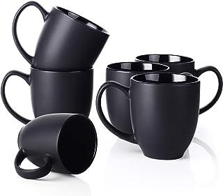 لیوان سرامیکی ، مجموعه لیوان قهوه DOWAN از 6 با یک دسته بزرگ (16 اونس) ، لیوان چای مینیمالیستی - سیاه