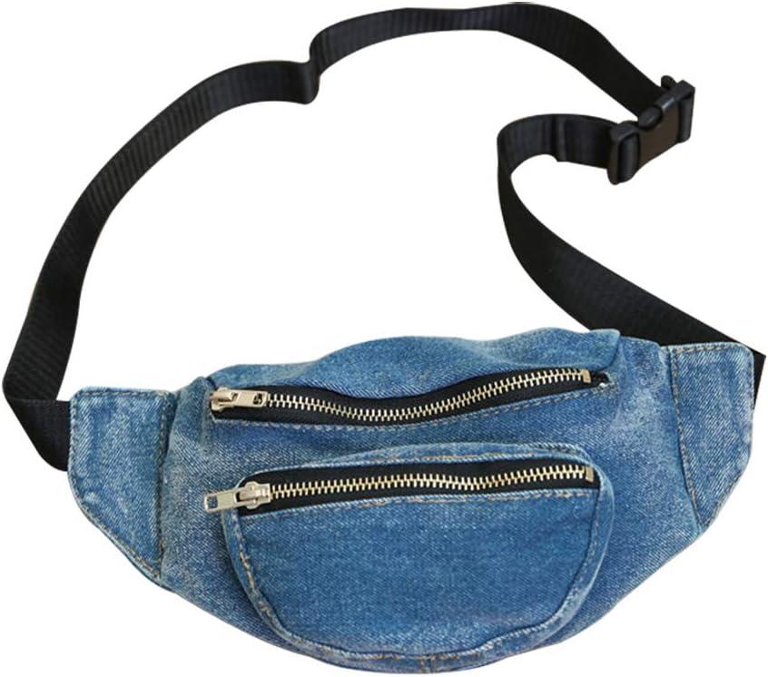 Topdo 1 bolsa de mezclilla con 2 bolsillos con cremallera para mujeres y niñas, color azul oscuro