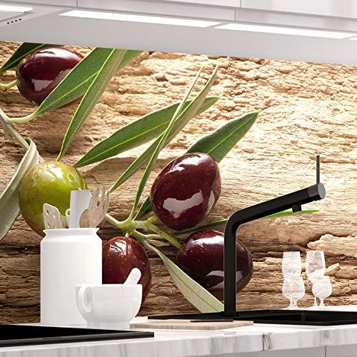 StickerProfis Küchenrückwand selbstklebend - OLIVEN - 1.5mm, Versteift, alle Untergründe, Hart PET Material, Premium 60 x 400cm