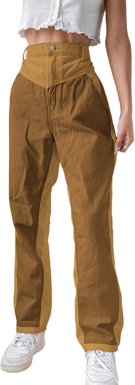 Women 's Junior Corduroy Pants Straight Leg High Waist Vintage Trousers Y2k E-Girl Streetwear