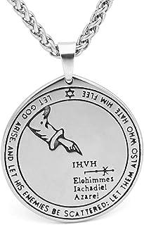 collana da uomo in acciaio inox con ciondolo a forma di pentacolo Oidea peltro catena inclusa stile pagano wicca e gotico