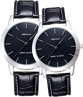 His and Hers Quartz Analog Wrist Watches for Couple, Valentine's Romantic Lovers Watch for Men and Women Leather Strap Minimalist Watches Gifts Set for Lovers Set of 2