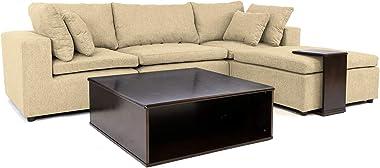Casa AndreaMilano Modern Configurable Linen Fabric Sectional Wood Side Coffee Table   Living Room Modular Corner L Shape Sofa