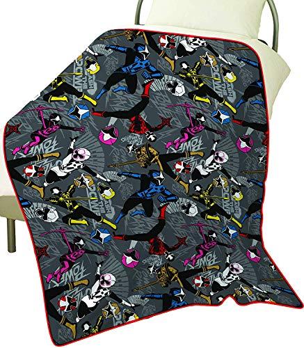 Power Rangers Ninja Steel Couverture Polaire Enfant Garçon - Plaid Couvre Lit Hiver Été 100x150 cm Pour Lit 1 Personne - Accessoires Chambre Enfants - Idée Cadeau Pour Garçons