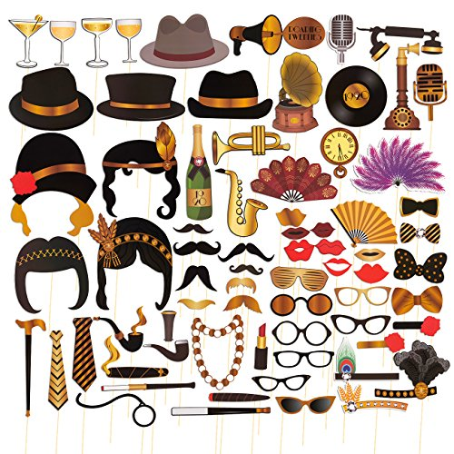 1920's Photo Booth Props, Party Supplies (Assorted Designs, 72-Pack)