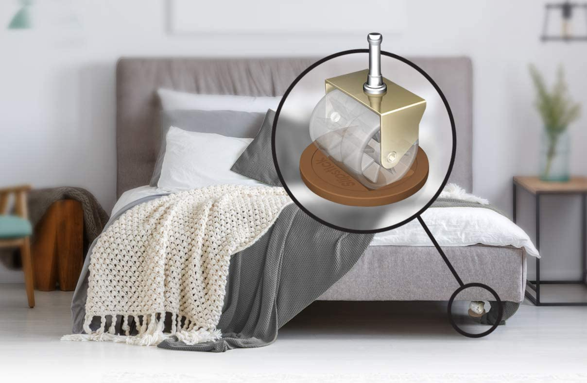 Set of 4 Caramel Color,Large CB840 3-1//4 Inch Bed Roller//Furniture Wheel Gripper Caster Cups New Version