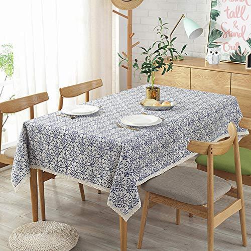 Meiosuns Manteles Mantel de Porcelana Azul y Blanca Manteles de Mantel de Lino Limpio a Prueba de Agua en AlgodóN para Cocina/Almuerzo/Fiestas/ManteleríA de Mesa de Picnic (Azul y Blanco, 100×140cm)