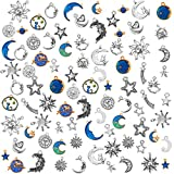 108 Pieces Jewelry Charms, Mixed Antique Silver Sun Stars Moon Charms Pendants, Assorted Gold Plated Enamel Cat Moon Star Celestial Charm Pendant for Earrings Necklace Jewelry Crafting (Blue)